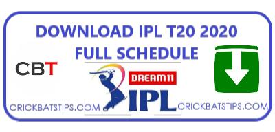 DOWNLOAD IPL T20 2020 FULL SCHEDULE